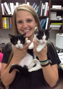 Kathy with kittens